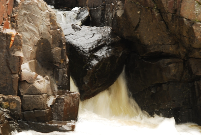 Water running over the rocks at the Dells of the Eau Claire County Park..
