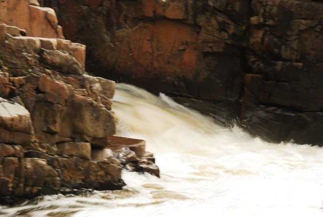 Water pouring over the rocks at the Dells of the Eau Claire River.