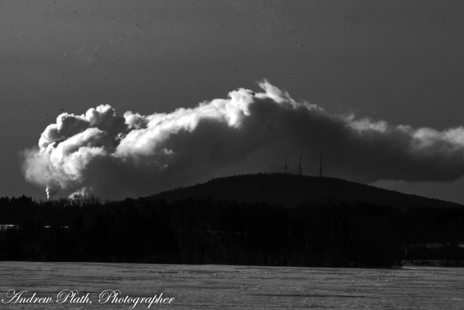 A powerful image of steam from the Weston power plants flowing in the sun over Mosinee Hill.