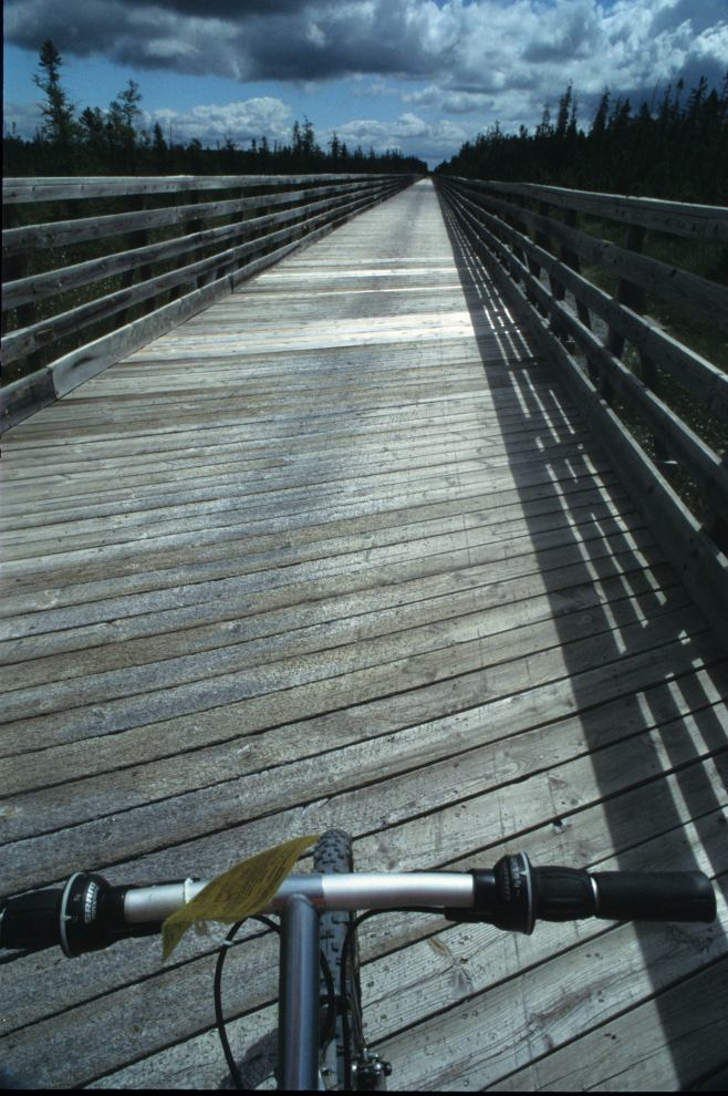 This is the Quarter-mile bridge on the Mountain-Bay State Trail as viewed from the seat of my Trek 920 mountain-bike.