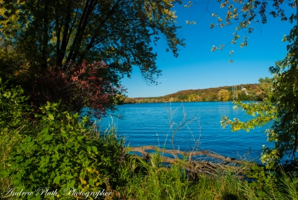 The Wisconsin River takes on brilliant colors along its banks each fall.