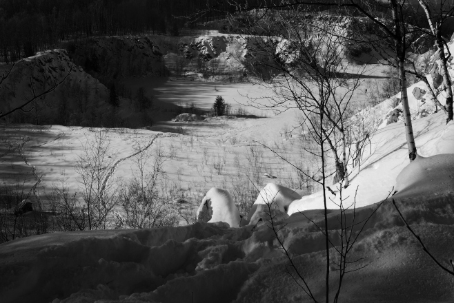 The Quarry in Winter - Black and White
